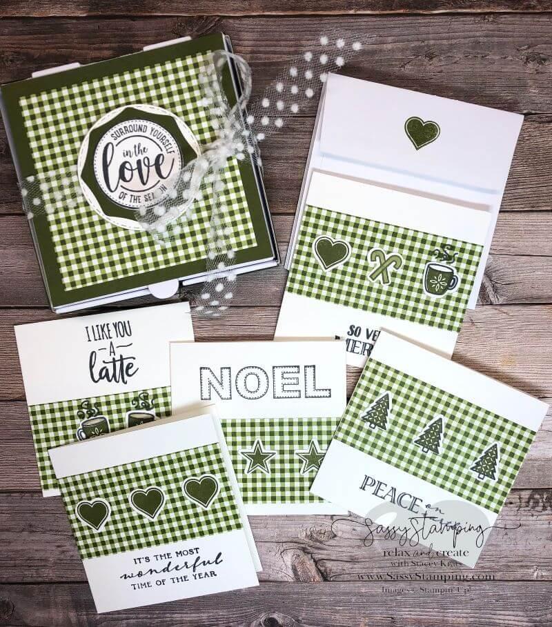 "3"" x 3"" Mini Notecard Set Using Heartwarming Hugs Suite"